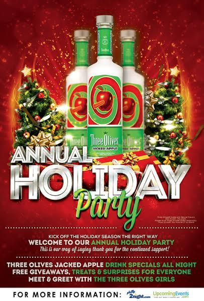 Details on Three Olives Jacked Apple Holiday Party at Cavanaugh's Headhouse Square!