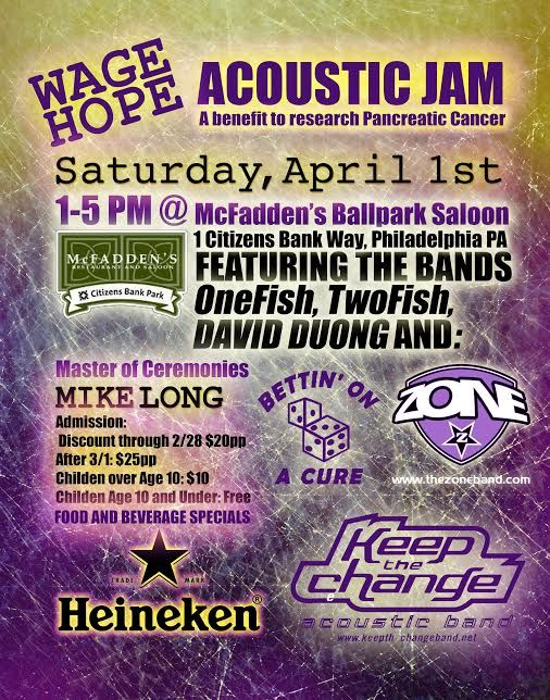 Wage Hope Acoustic Jam-A Benefit For Pancreatic Cancer Research