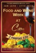 Details on Food and Wine Week at Cibo Ristorante Italiano